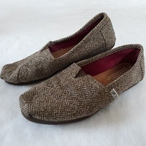 Tom's Classic Tweed Metallic Shoes Size 6 Brown